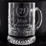 Tankard PERSONALISED ENGRAVED, cut pattern ref CGT1